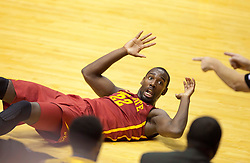 Iowa State Cyclones forward Dustin Hogue complains about a call against the West Virginia Mountaineers during the second half at the WVU Coliseum.