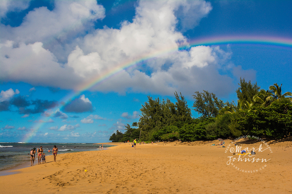 Rainbow over Makua (Tunnels) Beach, Haena, Kauai, Hawaii, USA