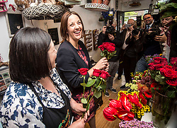 Scottish Labour leader Kezia Dugdale with florist Lorna Dunlop of  Rowan Flowers in Edinburgh as part of Labour's campaign push in Edinburgh East.<br /> <br /> &copy; Dave Johnston/ EEm