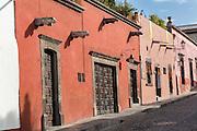 Spanish colonial adobe buildings in the historic center of San Miguel de Allende, Mexico.