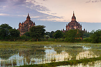 View of the Tha Beik Hmauk Gu Hpaya and Sulamani temples over the plains of Bagan in Myanmar (Burma)