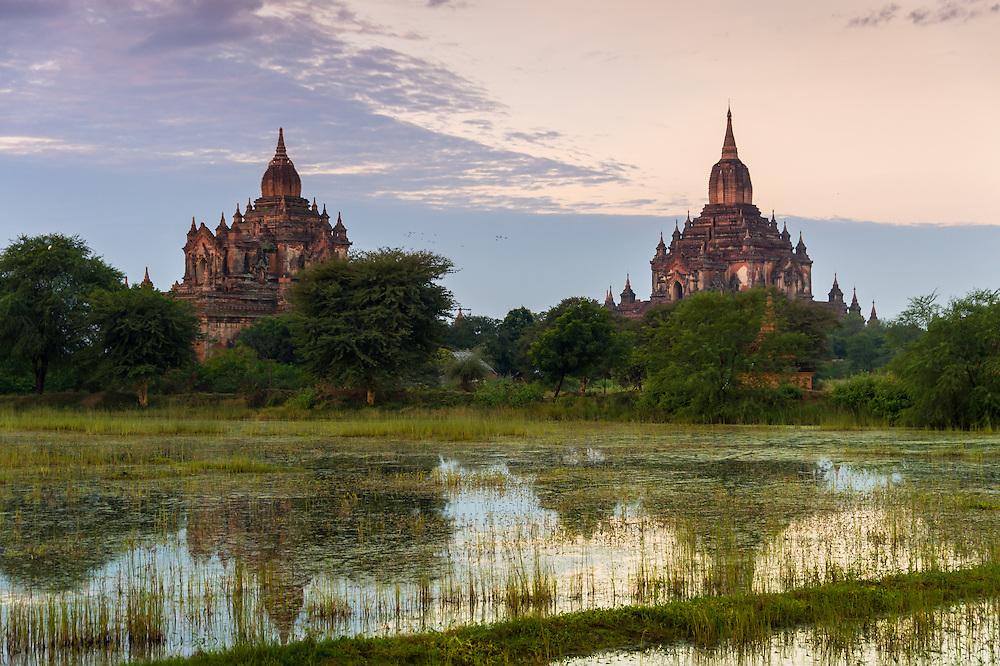 View of the Tha Beik Hmauk Gu Hpaya and Sulamani temples over the plains of Bagan in Myanmar (Burma)