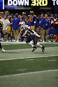 New England Patriots running back James White (28) in action during the NFL Super Bowl 53 football game against the Los Angeles Rams on Sunday, Feb. 3, 2019, in Atlanta. The Patriots defeated the Rams 13-3. (©Paul Anthony Spinelli)