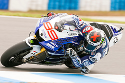 © Licensed to London News Pictures. 20/10/2012. Jorge Lorenzo (SPA) riding for the Yamaha Factory Racing  during the Race day of the round 16 2013 Tissot Australian Moto GP at the  Phillip Island Grand Prix Circuit Victoria, Australia. Photo credit : Asanka Brendon Ratnayake/LNP
