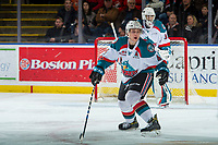 KELOWNA, CANADA - DECEMBER 30: Gordie Ballhorn #4 of the Kelowna Rockets skates backward toward the net to block a shot by the Victoria Royals on December 30, 2017 at Prospera Place in Kelowna, British Columbia, Canada.  (Photo by Marissa Baecker/Shoot the Breeze)  *** Local Caption ***