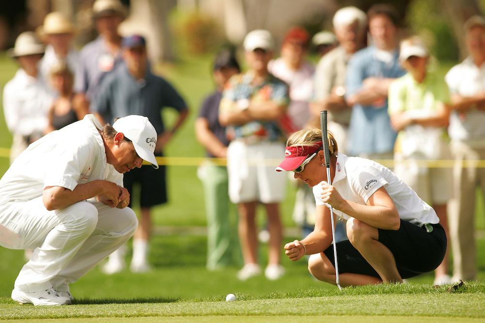 Annika Sorenstam.Terry McNamara (Caddie)..2005 Kraft-Nabisco Championship.Third Round.Mission Hills CC.Rancho Mirage, CA.Saturday March 26 2005..photograph by Darren Carroll. 03-2-05