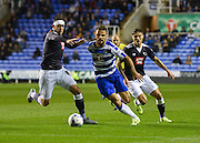 Orlando Sá beats Richard Keogh during the Sky Bet Championship match between Reading and Derby County at the Madejski Stadium, Reading, England on 15 September 2015. Photo by David Charbit.