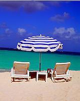 Chair Umbrella Beach of Anguilla, British West Indies