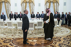 May 30, 2017 - Moscow, RUSSIA - Russian President Vladimir Putin, left, welcomes Saudi Deputy Crown Prince and Defense Minister Mohammed bin Salman, right, in Moscow's Kremlin, Russia, Tuesday, May 30, 2017. (Credit Image: © Prensa Internacional via ZUMA Wire)
