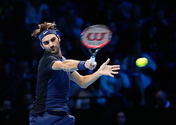 21-11-2015 GBR: ATP Tennis Tour Finals day 7, London<br /> Roger Federer (SUI) defeats Stanislas Wawrinka (SUI) by a score 7-5,6-3 in their semi final match<br /> <br /> ***NETHERLANDS ONLY***