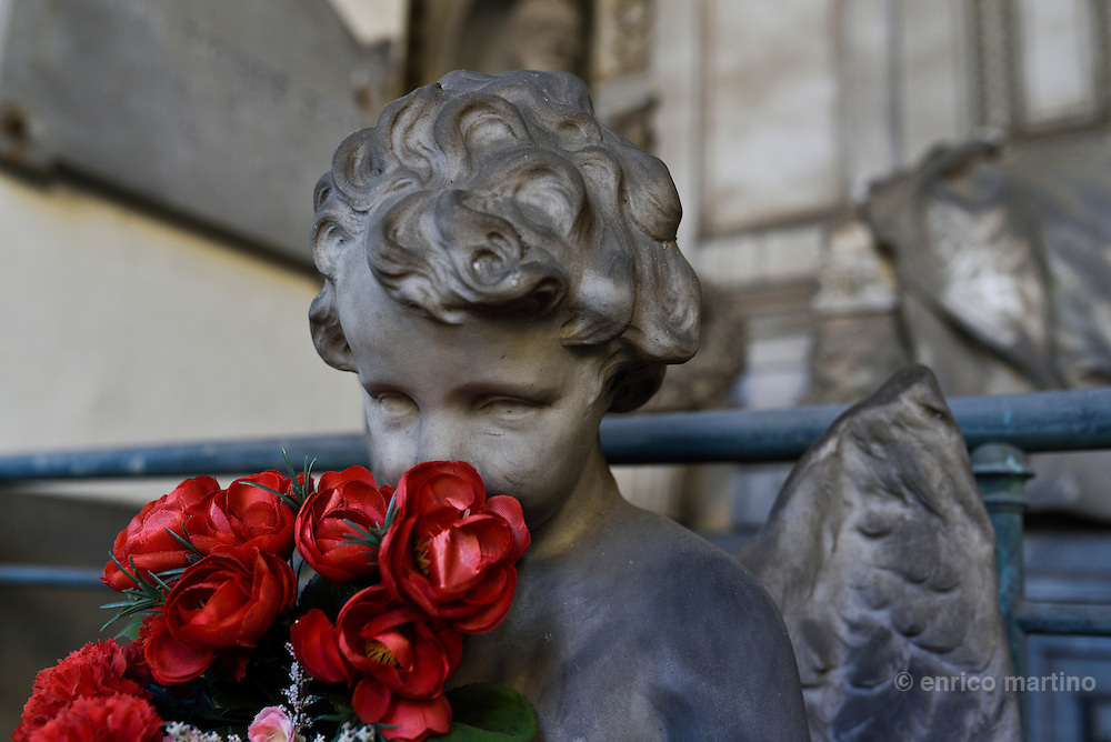 Genoa.  The Cimitero monumentale di Staglieno is famous for its monumental sculpture. Tomba Pignone Avanzini by Giuseppe Benetti 1867. Covering an area of more than a square kilometre, it is one of the largest cemeteries in Europe.