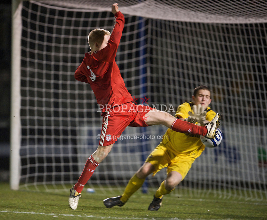 BRISTOL, ENGLAND - Thursday, January 15, 2009: Liverpool's Lauri Dalla Valle in action against Bristol Rovers' goalkeeper Sam Burgess during the FA Youth Cup match at the Memorial Stadium. (Mandatory credit: David Rawcliffe/Propaganda)