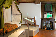 Belgium, Vieux-Genappe near Waterloo on 4th of June 2015. Official reopening of this former  farm, now a museum  where Emperor Napoleon and his staff spent the night of 17th June 1815. The last night before the battle of Waterloo.The bed.