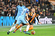 Hull City midfielder Jake Livermore (14) under attack from Gael Clichy (22) Manchester City defender during the Premier League match between Hull City and Manchester City at the KCOM Stadium, Kingston upon Hull, England on 26 December 2016. Photo by Ian Lyall.