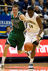 December 28, 2009; Berkeley, CA, USA;  California Golden Bears forward Theo Robertson (24) steals the ball from Utah Valley Wolverines guard Jordan Swarbrick (14) during the first half at the Haas Pavilion.  California defeated Utah Valley 85-51.