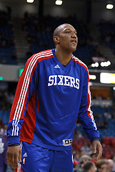 March 18, 2011; Sacramento, CA, USA;  Philadelphia 76ers center Tony Battie (4) warms up before the game against the Sacramento Kings at the Power Balance Pavilion. Philadelphia defeated Sacramento 102-80.