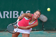 Yanina Wickmayer from Belgium competes in women's single round firstwhile Day Third during Roland Garros 2014 at Roland Garros Tennis Club in Paris, France.<br /> <br /> France, Paris, May 27, 2014<br /> <br /> Picture also available in RAW (NEF) or TIFF format on special request.<br /> <br /> For editorial use only. Any commercial or promotional use requires permission.<br /> <br /> Mandatory credit:<br /> Photo by © Adam Nurkiewicz / Mediasport