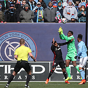 NEW YORK, NEW YORK - March 12:  Goalkeeper Sean Johnson #1 of New York City FC catches a cross while challenged by Sean Franklin #5 of D.C. United during the NYCFC Vs D.C. United regular season MLS game at Yankee Stadium on March 12, 2017 in New York City. (Photo by Tim Clayton/Corbis via Getty Images)