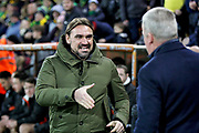 Norwich City manager Daniel Farke welcomes Portsmouth Manager Kenny Jackett before the The FA Cup 3rd round match between Norwich City and Portsmouth at Carrow Road, Norwich, England on 5 January 2019.