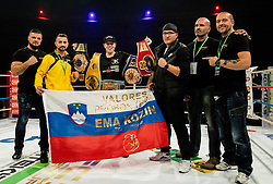 Ema Kozin of Slovenia celebrates with her team after winning against Maria Lindberg of Sweden during their WBC, IBO, IBA, WBF and WIBA supermiddleweight World Championship titles fight, on October 6, 2019 in Arena Stozice, Ljubljana, Slovenia. Photo by Vid Ponikvar / Sportida