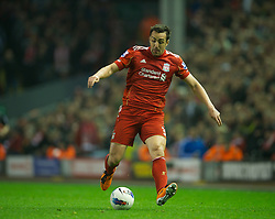 LIVERPOOL, ENGLAND - Tuesday, March 13, 2012: Liverpool's Jose Enrique in action against Everton during the Premiership match at Anfield. (Pic by David Rawcliffe/Propaganda)