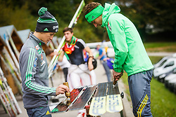 Jaka Hvala and Peter Prevc during national competition in Ski Jumping, 8th of October, 2016, Kranj,  Slovenia. Photo by Grega Valancic / Sportida