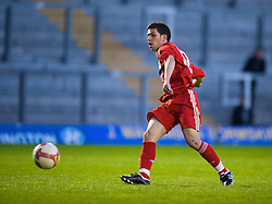 WARRINGTON, ENGLAND - Wednesday, April 29, 2009: Liverpool's Daniel Pacheco scores his second goal of the game, the Reds' fifth, against Newcastle United during the FA Premiership Reserves League (Northern Division) match at the Halliwell Jones Stadium. (Photo by David Rawcliffe/Propaganda)