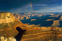 Rainbow at Sunrise (South rim) at Grand Canyon, Coconino Co, AZ, USA, on