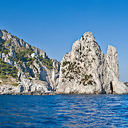 panoramic view of the Faraglioni from the sea