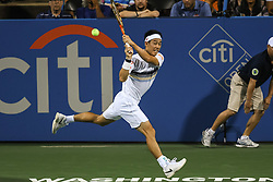August 1, 2018 - Washington, D.C, U.S - KEI NISHIKORI hits a backhand during his 2nd round match at the Citi Open at the Rock Creek Park Tennis Center in Washington, D.C. (Credit Image: © Kyle Gustafson via ZUMA Wire)