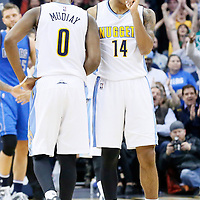 06 March 2016: Denver Nuggets guard Emmanuel Mudiay (0) is seen next to Denver Nuggets guard Gary Harris (14) during the Denver Nuggets 116-114 overtime victory over the Dallas Mavericks, at the Pepsi Center, Denver, Colorado, USA.