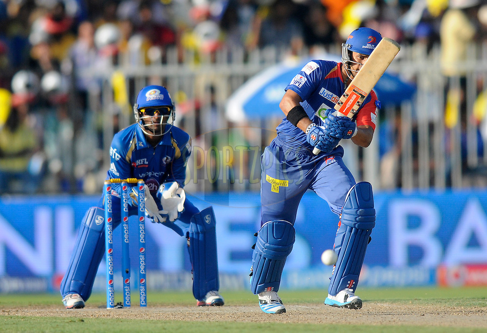 Jean-Paul Duminy of the Delhi Daredevils bats during match 16 of the Pepsi Indian Premier League 2014 between the Delhi Daredevils and the Mumbai Indians held at the Sharjah Cricket Stadium, Sharjah, United Arab Emirates on the 27th April 2014<br /> <br /> Photo by Pal Pillai / IPL / SPORTZPICS