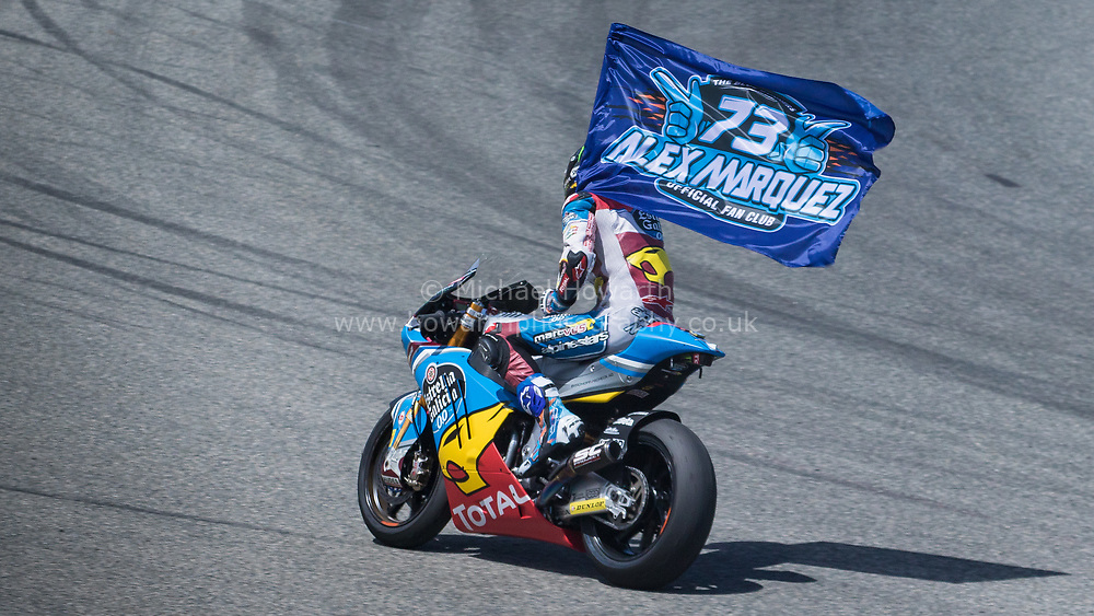 Alex Marquez Celebrates his maiden win at the Moto GP, GP2 race at Jerez in May 2017.