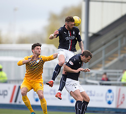 Falkirk&rsquo;s Lee Miller over Morton&rsquo;s Ricki Lamie and Falkirk's David McCracken. <br /> Falkirk 1 v 0 Morton, Scottish Championship game  played 1/5/2016 at The Falkirk Stadium.