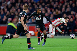 Nicolás Tagliafico #31 of Ajax and Myron Boadu #9 of AZ Alkmaar in action during the Dutch Eredivisie match round 25 between Ajax Amsterdam and AZ Alkmaar at the Johan Cruijff Arena on March 01, 2020 in Amsterdam, Netherlands