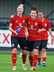 NEWPORT, WALES - Monday, June 4, 2018: Wales' Rhiannon Roberts and Angharad James during a training session at Dragon Park ahead of the FIFA Women's World Cup 2019 Qualifying Round Group 1 match against Bosnia and Herzegovina. (Pic by David Rawcliffe/Propaganda)