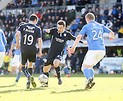 Dundee's Paul Heffernan can't find a way through the St Johnstone defence - St Johnstone v Dundee, SPFL Premiership at McDiarmid Park<br /> <br />  - &copy; David Young - www.davidyoungphoto.co.uk - email: davidyoungphoto@gmail.com