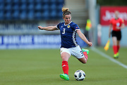 Emma Mitchell (#3) of Scotland plays a long pass during the FIFA Women's World Cup UEFA Qualifier match between Scotland Women and Belarus Women at Falkirk Stadium, Falkirk, Scotland on 7 June 2018. Picture by Craig Doyle.
