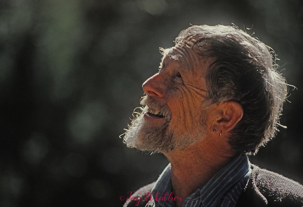 Gary Snyder (born May 8, 1930) is an American man of letters. Perhaps best known as a poet (often associated with the Beat Generation and the San Francisco Renaissance), he is also an essayist, lecturer, and environmental activist. He has been described as the &quot;poet laureate of Deep Ecology&quot;[2]). Snyder is a winner of a Pulitzer Prize for Poetry. His work, in his various roles, reflects an immersion in both Buddhist spirituality and nature. Snyder has translated literature into English from ancient Chinese and modern Japanese. For many years, Snyder served as a faculty member at the University of California, Davis, and he also served for a time on the California Arts Council.  (from Wikipedia)<br /> <br /> He was photographed at his home in the Sierra foothills near Nevada City in October, 1990.