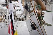 20180413/ Nicolas Celaya - adhocFOTOS/ URUGUAY/ MONTEVIDEO/ PUERTO/ Buques escuela participan de la regata &quot;Velas Latinoam&eacute;rica 2018&quot;, en el puerto de Montevideo.<br /> En la foto: Buques escuela participan de la regata &quot;Velas Latinoam&eacute;rica 2018&quot;, en el puerto de Montevideo. Foto: Nicol&aacute;s Celaya /adhocFOTOS