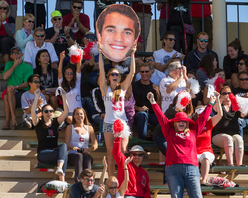 October 18, 2014<br /> The crowd reacts to a Stanford men's water polo goal during a game against USC at the Avery Aquatic Center on Saturday, October 18, 2014. Stanford won the game 11-10.<br /> <br /> The win was the Cardinal&rsquo;s second in a row against the nation&rsquo;s top-ranked team after defeating then-No. 1 UCLA at the SoCal Tournament last Sunday (7-6). It moved Stanford to 16-2 overall and 2-0 in MPSF action and was also its first win against a No. 1 USC squad since Oct. 9, 2010
