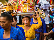 16 JULY 2016 - UBUD, BALI, INDONESIA: Women carry offerings to the waiting sarcophagi during the mass cremation ceremony in Ubud. Local people in Ubud exhumed the remains of family members and burned their remains in a mass cremation ceremony Wednesday. Almost 100 people were cremated and laid to rest in the largest mass cremation in Bali in years this week. Most of the people on Bali are Hindus. Traditional cremations in Bali are very expensive, so communities usually hold one mass cremation approximately every five years. The cremation in Ubud concluded Saturday, with a large community ceremony.     PHOTO BY JACK KURTZ