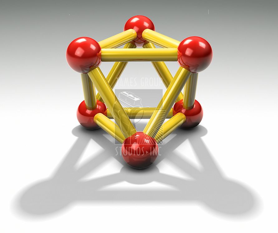 A 3d reflective proton  shown from an interesting symetrical view casting a shadow on white surface