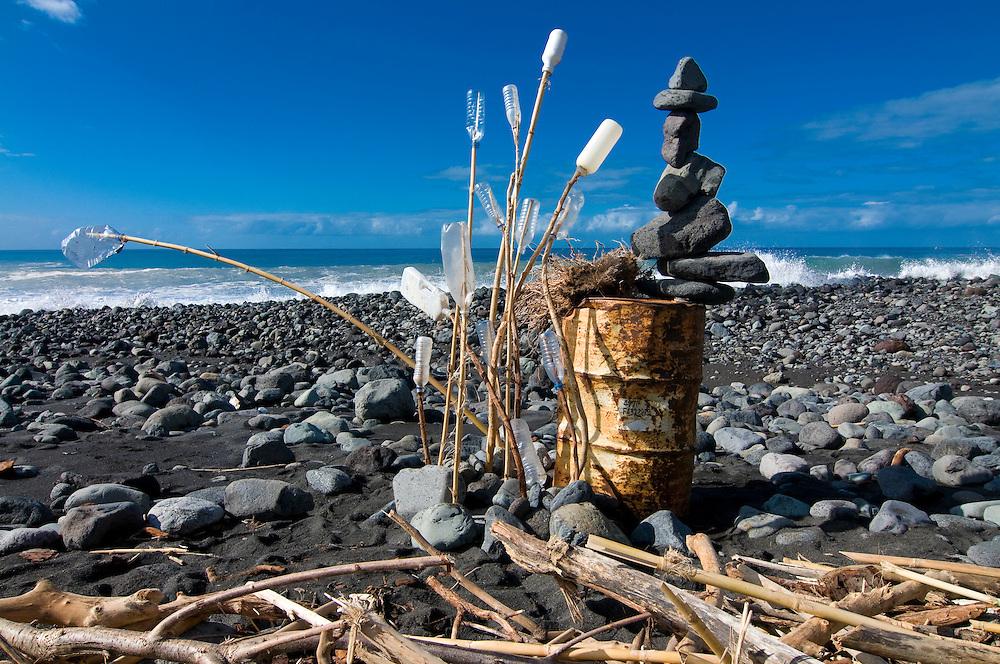 Artistic statue on the beach of Tazacorte,La Palma, Canary islands,Spain
