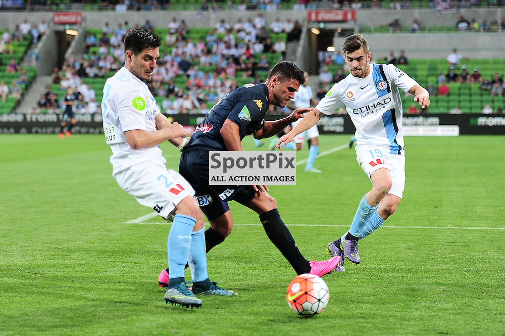 Bruno Fornaroli of Melbourne City,  Fabio Ferreira of Central Coast Mariners, Ben Garuccio of Melbourne City - Hyundai A-League,  25th October 2015, RD 3, Melbourne City FC v Central Coast Mariners with a win to City 3:1 © Mark Avellino | SportPix.org.uk