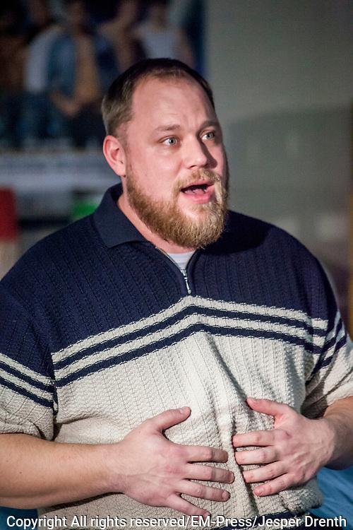 Perspresentatie van de musical The Full Monty<br /> <br /> Op de foto:  Dennis Willekens