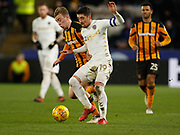 Pablo Hernández of Leeds United shields the ball from Jarrod Bowen of Hull City during the EFL Sky Bet Championship match between Hull City and Leeds United at the KCOM Stadium, Kingston upon Hull, England on 30 January 2018. Photo by Paul Thompson.
