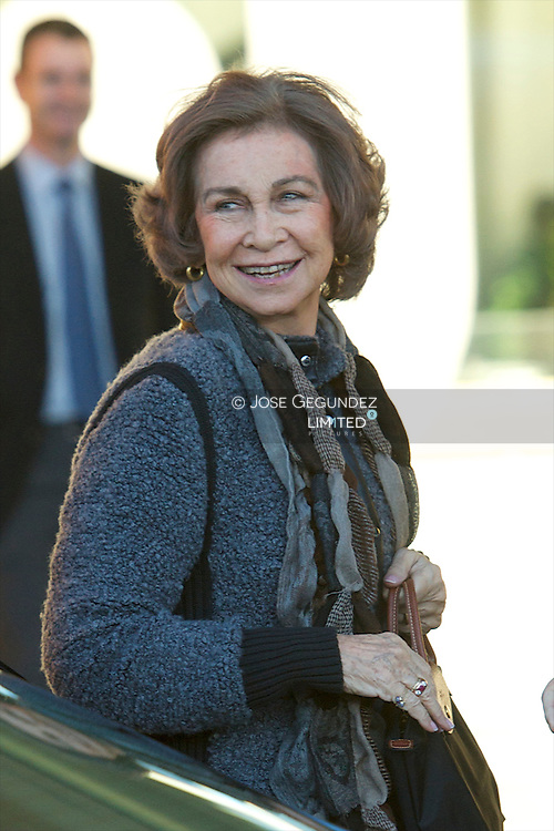 Queen Sofia of Spain visits to King Juan Carlos of Spain at the Quiron University Hospital on November 22, 2013 in Pozuelo de Alarcon, Spain. The Spanish King is set to undergo surgery to get a final prosthesis on his left hip. The operation will be the King's ninth in three years