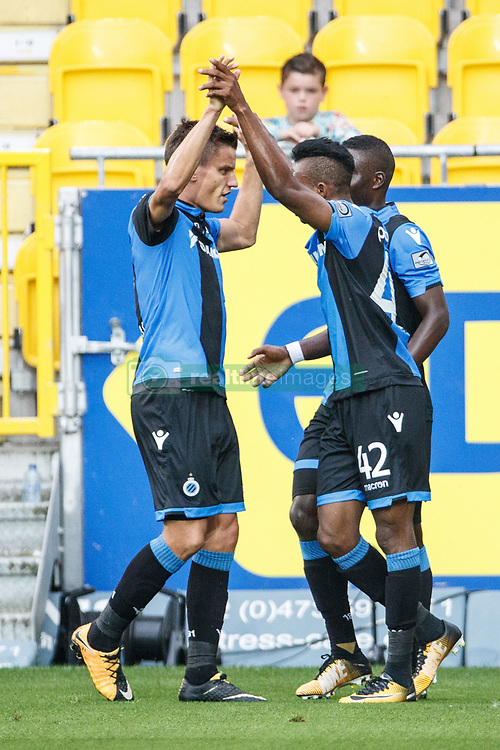 July 29, 2017 - Lokeren, BELGIUM - Club's Emmanuel Bonaventure Dennis celebrates after scoring during the Jupiler Pro League match between Sporting Lokeren and Club Brugge, in Lokeren, Saturday 29 July 2017, on the first day of the Jupiler Pro League, the Belgian soccer championship season 2017-2018. BELGA PHOTO KURT DESPLENTER (Credit Image: © Kurt Desplenter/Belga via ZUMA Press)