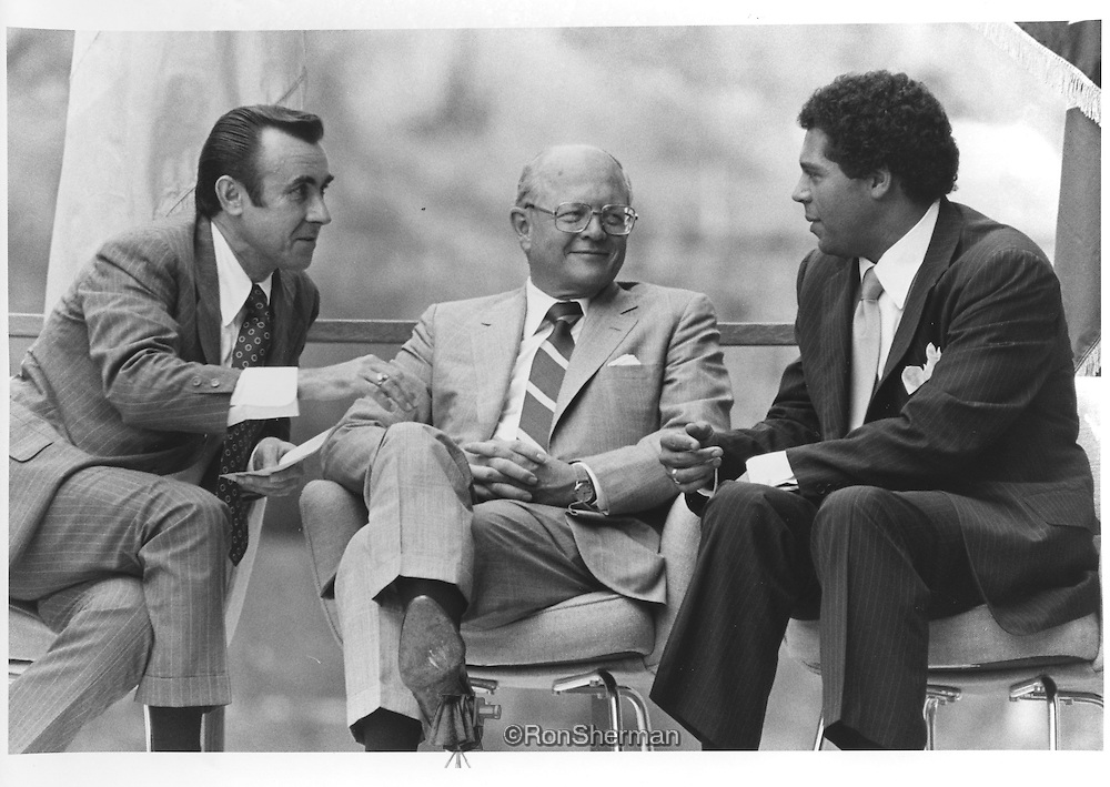 IBM GSD President Jack Rogers (L), IBM Chairman Frank Cary (C) and Atlanta Mayor Maynard Jackson (R), at the IBM General Systems Division Headquarters Dedication July 17, 1977 in Atlanta, Georgia